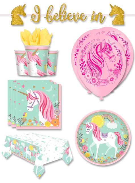 Decoración fiesta unicornio premium 8 personas - Pretty Unicorn
