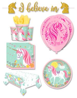 Premium Enhjørning Festdekorasjoner for 8 Personer - Pretty Unicorn