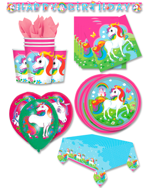 Decoración fiesta premium Unicornio 16 personas - Rainbow Unicorn