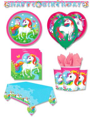 Decoración fiesta premium Unicornio 8 personas - Rainbow Unicorn