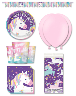 Decoración fiesta unicornio premium 8 personas - Happy Unicorn