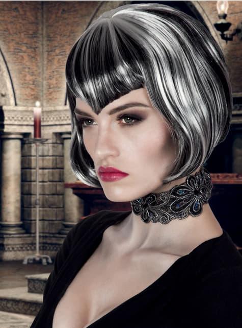 Peluca de vampiresa corte bob para mujer - Halloween