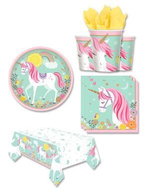 Yksisarvinen juhlakoristeet 8 hengelle - Pretty Unicorn