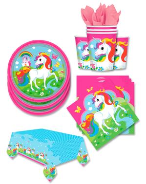 Décoration fête licorne 16 personnes - Rainbow Unicorn