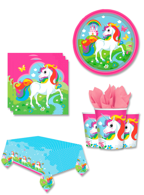 Decoración fiesta Unicornio 8 personas - Rainbow Unicorn