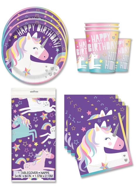 Decoración fiesta unicornio 16 personas - Happy Unicorn