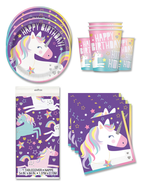 Decoración fiesta unicornio 16 personas - Happy Unicorn