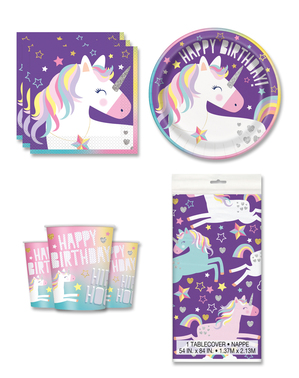 Dekoracje imprezowe Jednorożec na 8 osób - Happy Unicorn