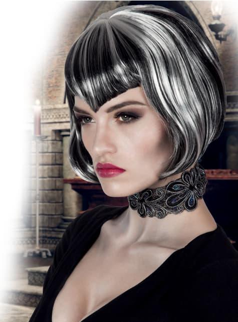 Peluca de vampiresa corte bob para mujer - Carnaval