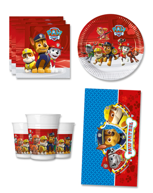Födelsedagsdekoration Paw Patrol 8 personer - Paw Patrol ready for Action
