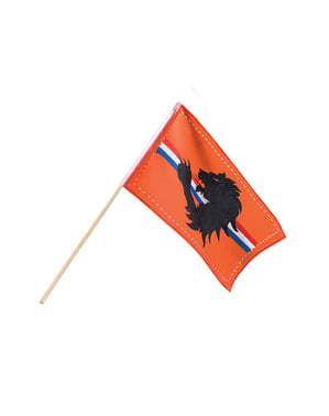 Bandeira cor de laranja com faixa tricolor