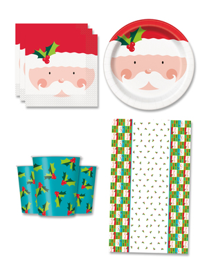 Father Christmas Party Decorations for 8 People - Holly Santa