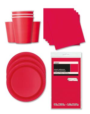 Party Deko rot 16 Personen - Basicfarben Collection