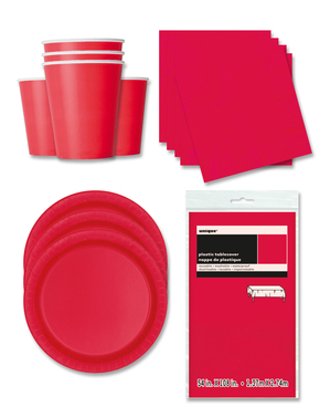 Red Party Decorations for 16 People - Basic Colours Line