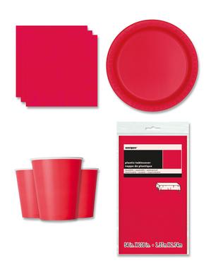 Decorazioni festa rosso chiaro 8 persone - Linea Colori Basici