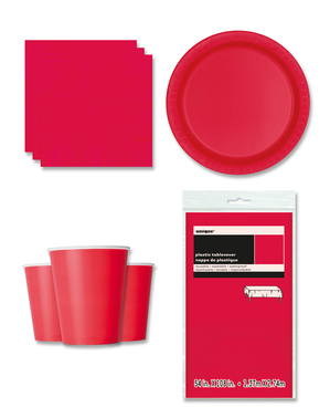 Red Party Decorations for 8 People - Basic Colours Line