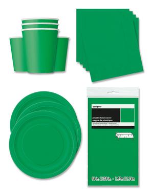 Decoración fiesta verde esmeralda 16 personas- Línea Colores Básicos