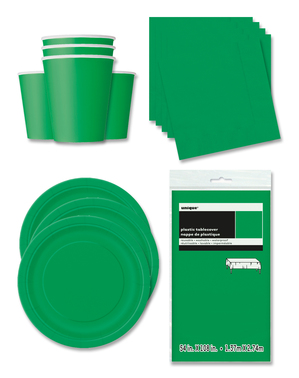 Emerald Green Party Decorations for 16 People - Basic Colours Line