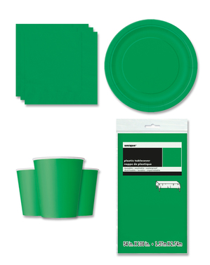 Decoración fiesta verde esmeralda 8 personas- Línea Colores Básicos