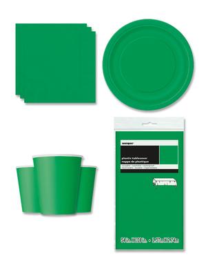 Decorazioni festa verde smeraldo 8 persone - Linea Colori Basici
