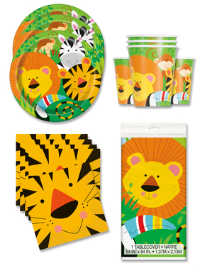 Jungle Animals Party Decorations for 16 People
