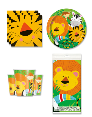 Jungle Animals Party Decorations for 8 People