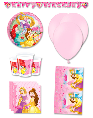 Décoration anniversaire premium princesses Disney 8 personnes