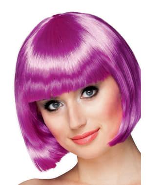 Fioletowa peruka z grzywką damska