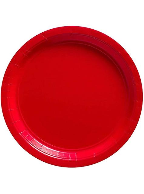 Zestawe 8 małych czerwonych talerzy