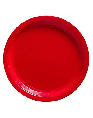 Sett med 8 Småe Røde Tallerken