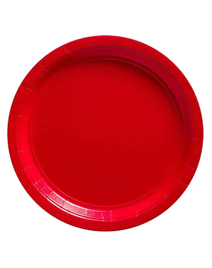 8 små røde tallerkner (18 cm)