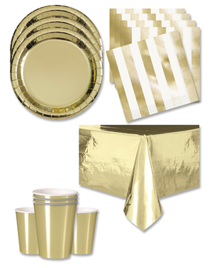 Gold Party Decorations for 16 People - Basic Colours Line