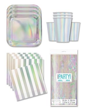 Decoración fiesta iridiscente 16 personas- Línea Colores Básicos