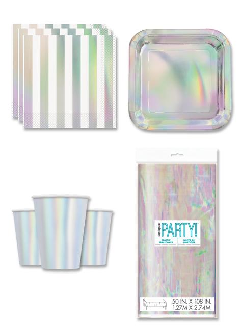 Decoración fiesta iridiscente 8 personas- Línea Colores Básicos