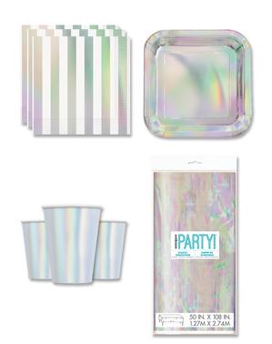 Decorazioni festa iridiscente 8 persone - Linea Colori Basici