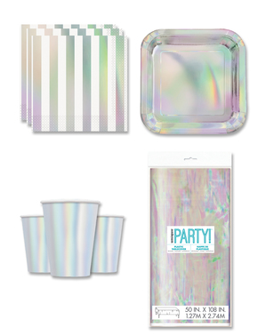 Iridescent Party Decorations for 8 People - Basic Colours Line