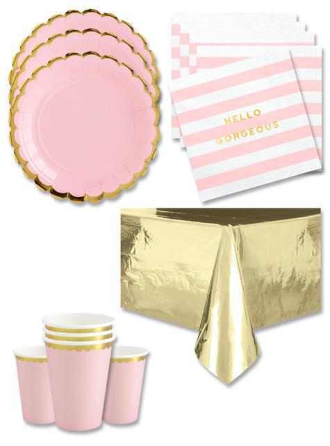 Decoración fiesta rosa 16 personas - Yummy