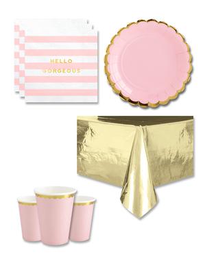 Decorazioni festa rosa  8 persone - Yummy