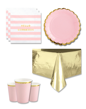 Pink Festdekorationer til 8 personer - Yummy