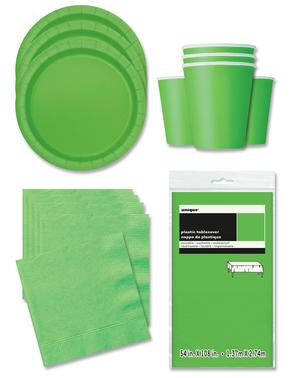 Decoración fiesta verde lima 16 personas- Línea Colores Básicos