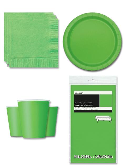 Decoración fiesta verde lima 8 personas- Línea Colores Básicos