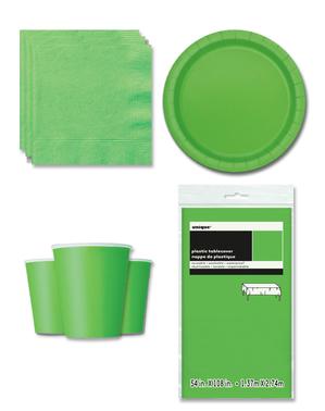 Décoration fête vert citron 8 personnes - Gamme couleur unie