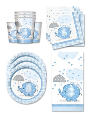 Niebieskie Dekoracje imprezowe Baby Shower na 16 osób - Umbrellaphants Blue