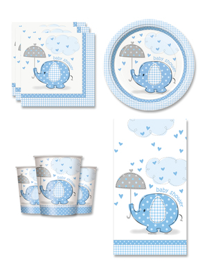 Blauwe Baby Shower Feestdecoraties voor 8 personen - Umbrellaphants Blue