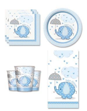 Niebieskie Dekoracje imprezowe Baby Shower na 8 osób - Umbrellaphants Blue