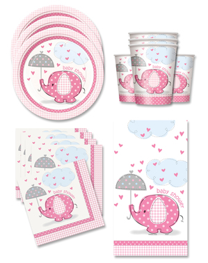 Różowe Dekoracje imprezowe Baby Shower na 16 osób - Umbrellaphants Pink