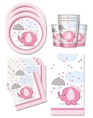 Rosa Baby Shower Festdekorasjoner for 16 Personer - Umbrellaphants Pink