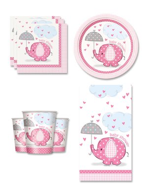 Festdekoration Baby shower Rosa 8 personer - Umbrellaphants Pink