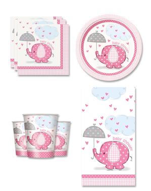 Różowe Dekoracje imprezowe Baby Shower na 8 osób - Umbrellaphants Pink