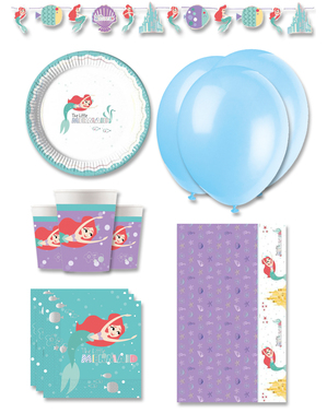 Premium Ariel Den Lille Havfrue Fødselsdagsdekorationer til 8 personer